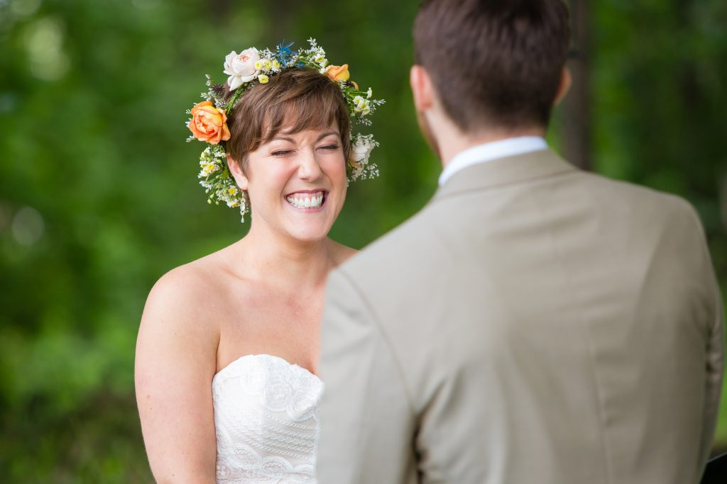 giggling bride, happy bride, floral crown, boho wedding