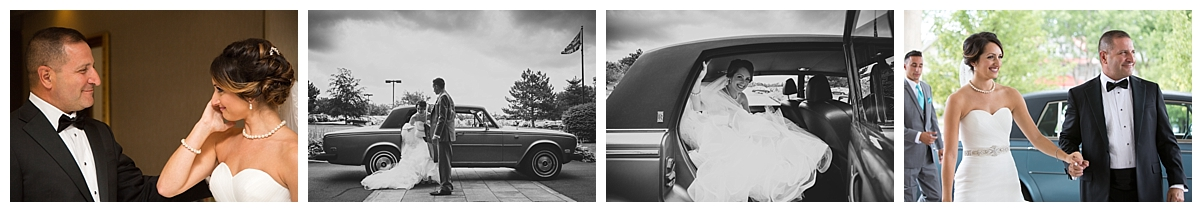 father and bride, rolls royce bride