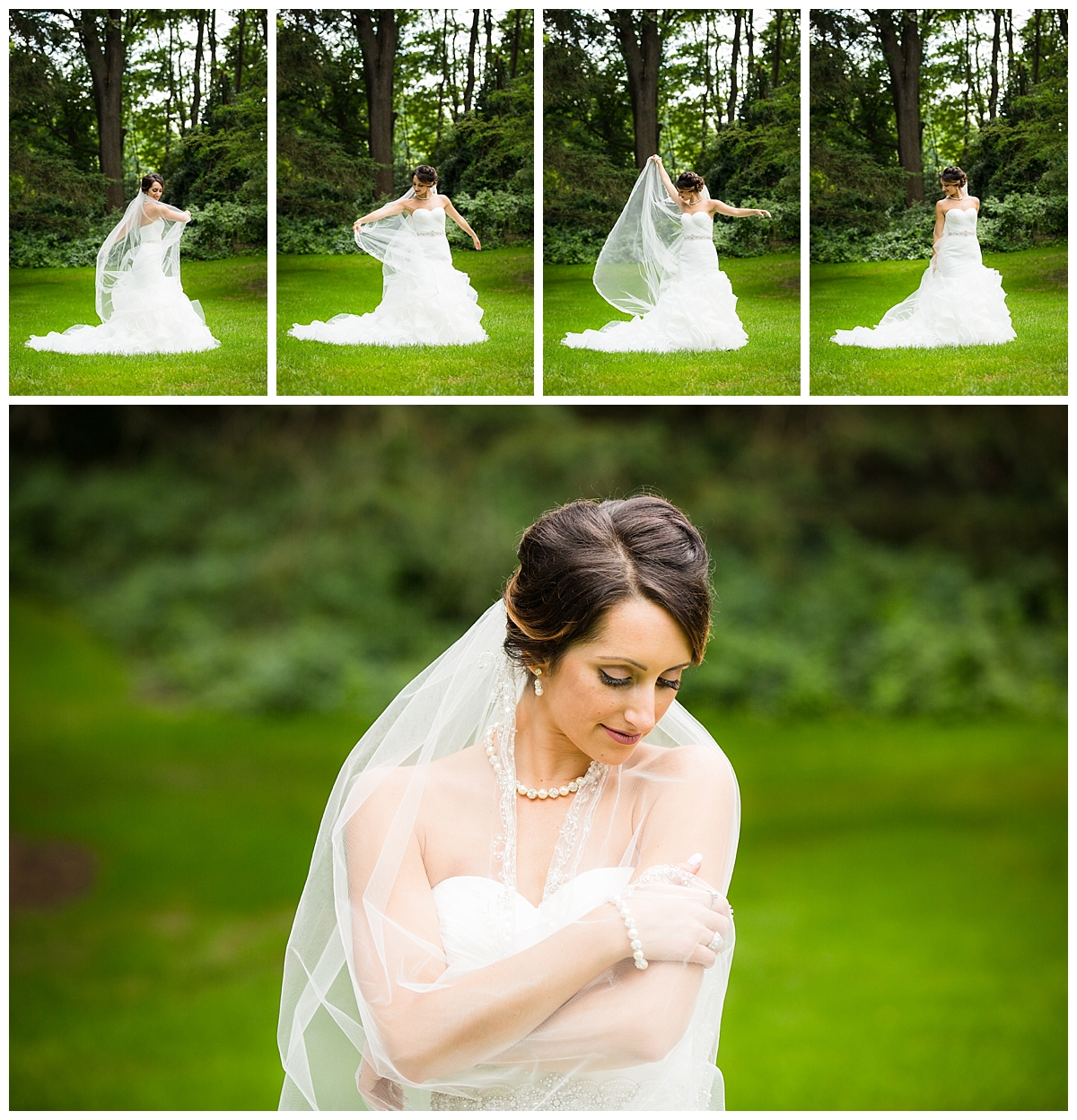 Bridal Portrait, bride with cathedral length veil
