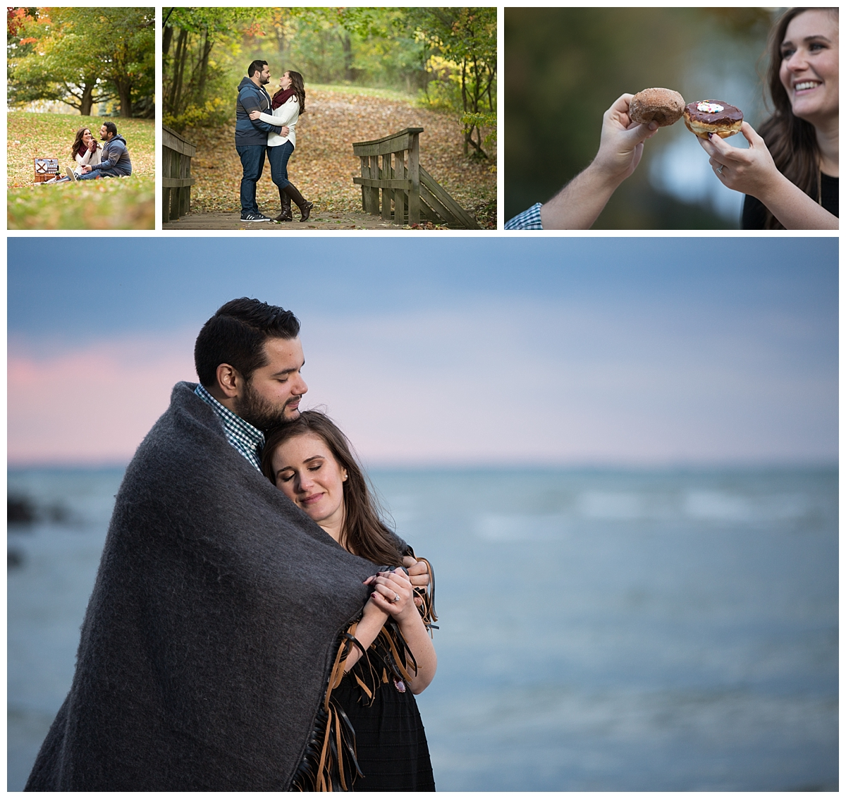 Webster Park engagement session, picnic engagement, doughnut wedding, Lake wedding